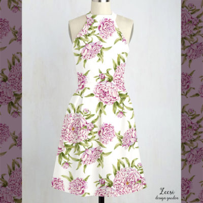 plush peonies textile design on dress