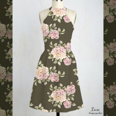 rose cluster textile design dress